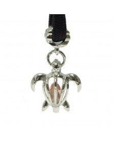 Single Peach Crystal Sea Turtle Charm for Paracord