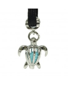 Single Lite Blue Crystal Sea Turtle Charm for Paracord
