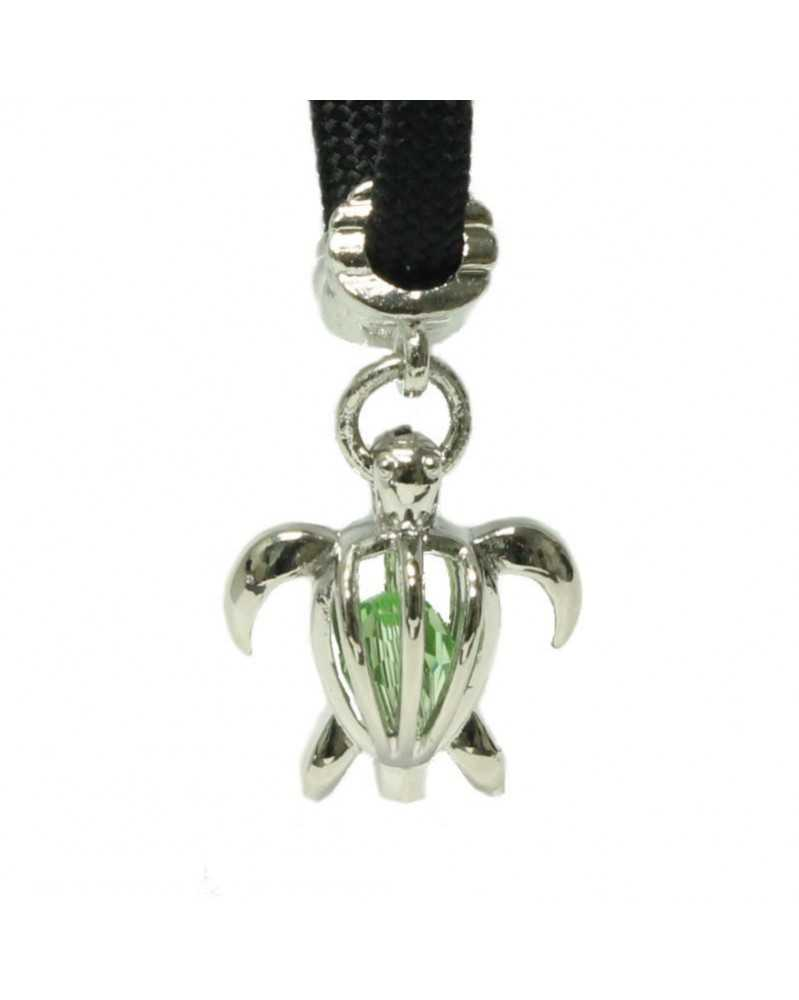 Single Green Crystal Sea Turtle Charm for Paracord