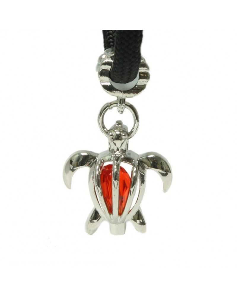 Single Red Crystal Sea Turtle Charm for Paracord