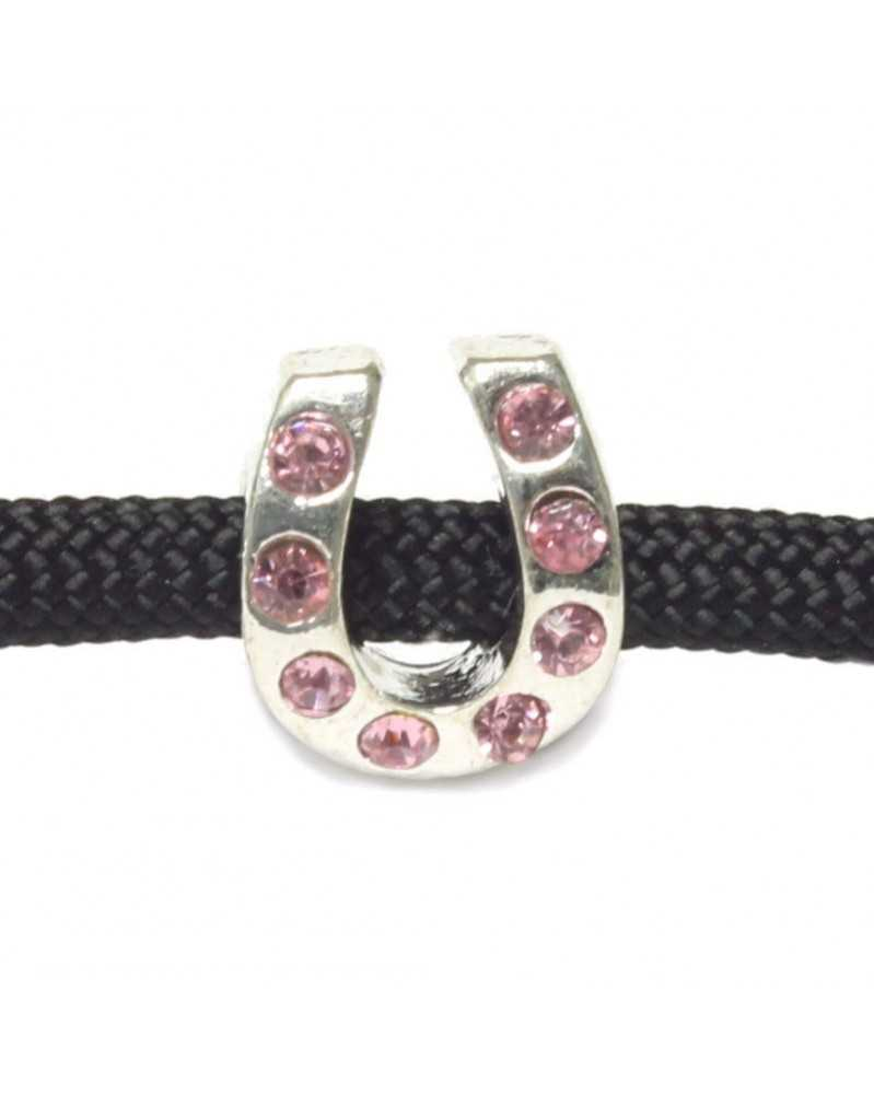 Single Charm for Paracord Lite Pink Rhinestone Horseshoe