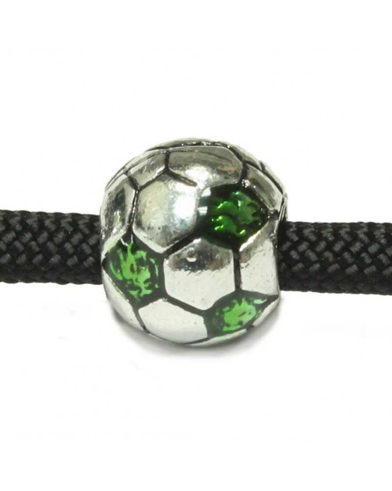 10 PACK - Soccer Balls - w/Green Jewels - Bead/Charm for Paracord
