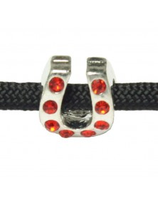 Charm Horsehoe with Red Rhinestones