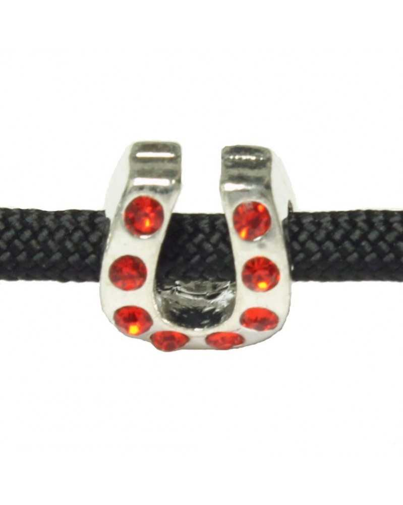 10 PACK - RED Rhinestone - Horseshoe - Bead/Charm for Paracord