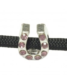 10 PACK - LAVENDER - Rhinestone Horseshoe - Charm for Paracord