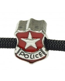 10 PACK - Red Police Badge - Bead/Charm for Paracord