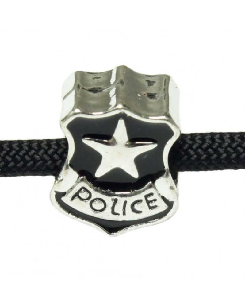 10 PACK - Police Badge - (Black Enamel) - Bead/Charm for Paracord