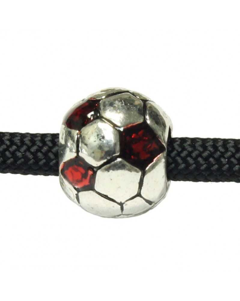 10 PACK - Soccer Balls - w/ Red Jewels - Bead/Charm for Paracord