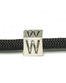 Metal Alphabet Letter Cube Bead - W
