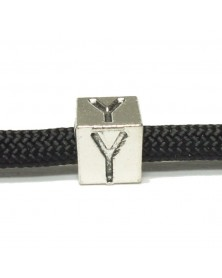Metal Alphabet Letter Cube Bead - Y