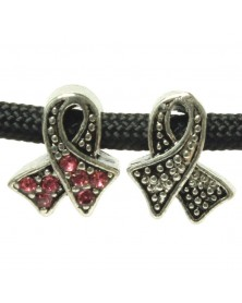Ribbon Bead with Pink Rhinestones