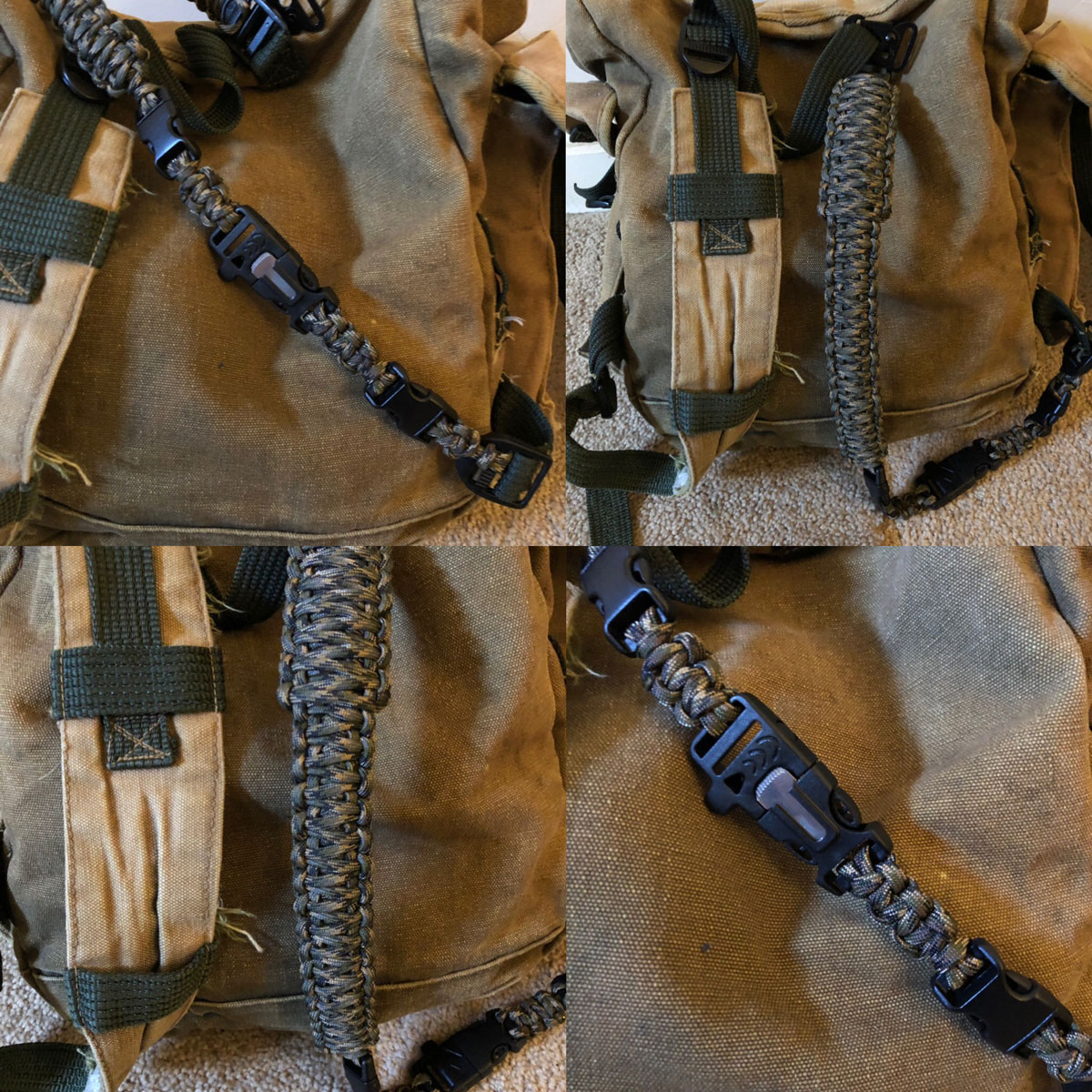 paracord truck sack strap